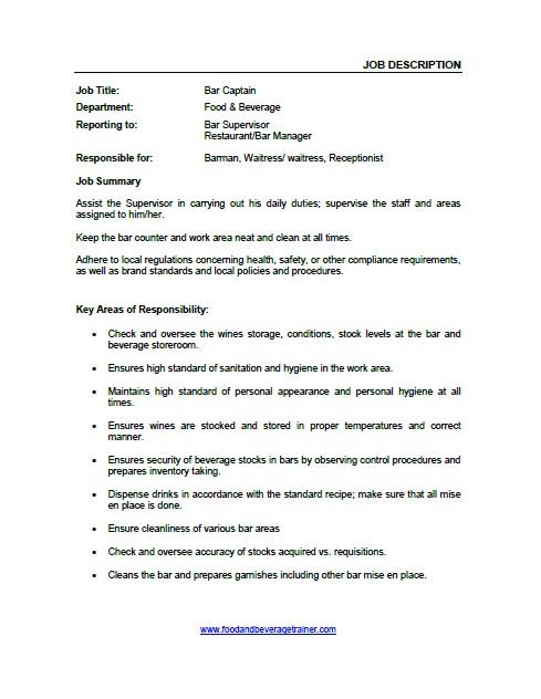Food and Beverage Job Descriptions - stocker job description