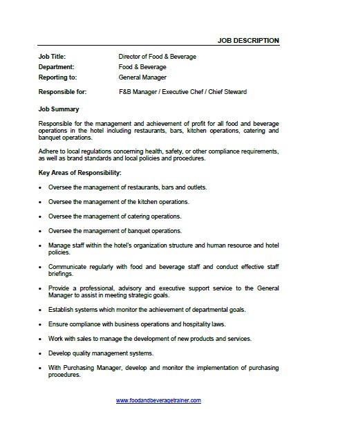 Food and Beverage Job Descriptions - purchasing manager job description