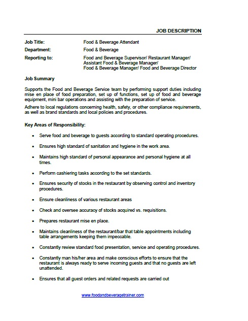 Food and Beverage Job Descriptions - Food And Beverage Attendant Sample Resume