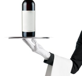 Waiter with wine bottle