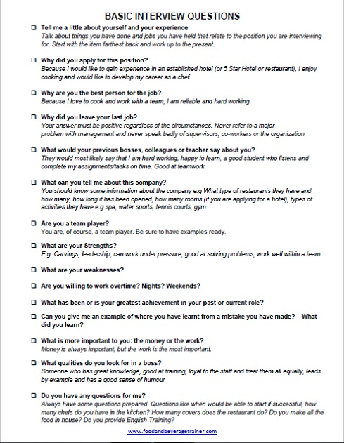 restaurant interview answers - Maggilocustdesign - Restaurant Interview Questions