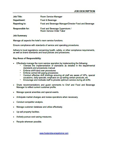 Food and Beverage Job Descriptions