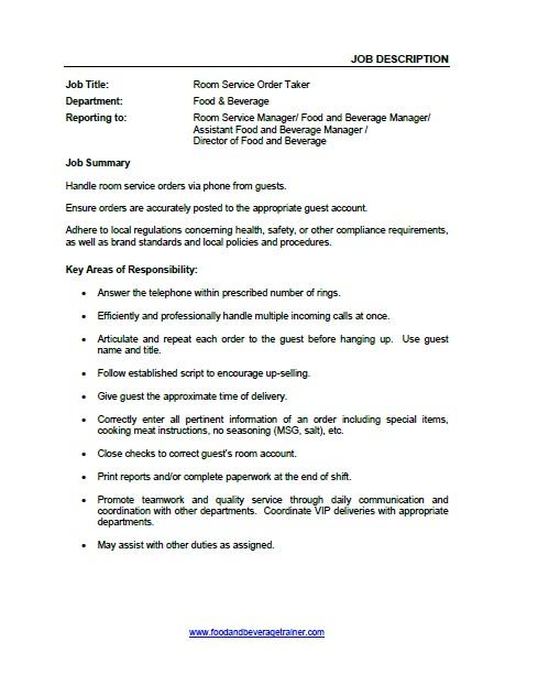 Food and Beverage Job Descriptions - customer service manager job description