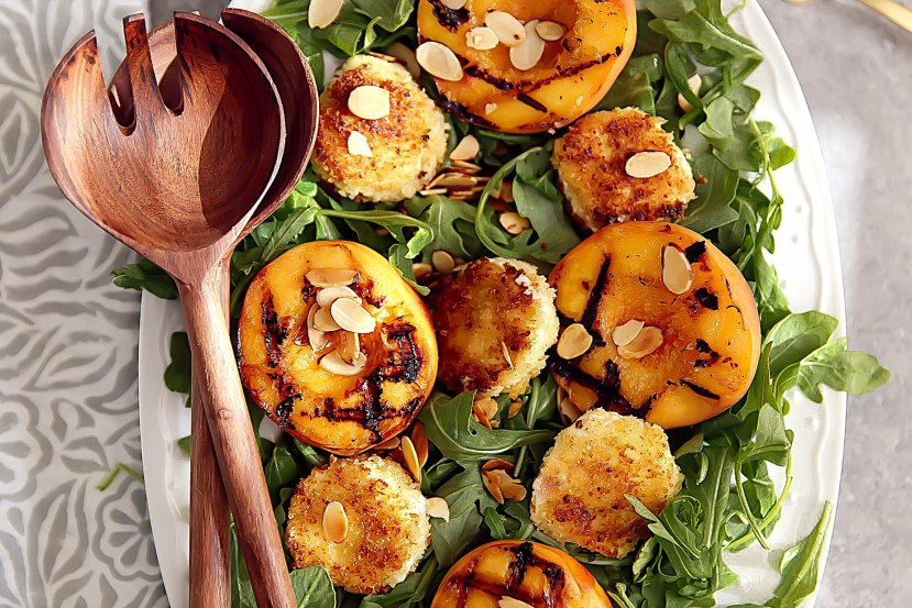 Grilled Peach Salad with warm Goat Cheese