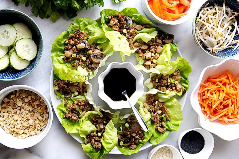 Chicken Lettuce Wraps with Roasted Mushrooms