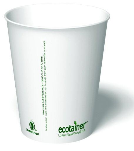 12 Oz Ecotainer Carte Blanc Biodegradable Hot Cup