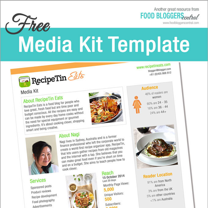 Media Kit Template (Free) Food Bloggers Central