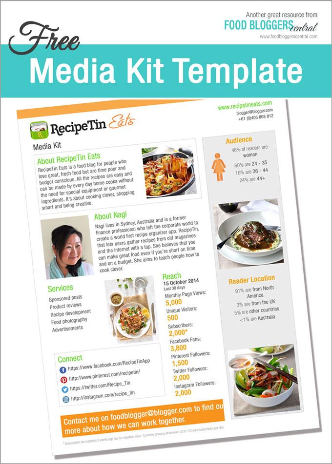 Media Kit Template (Free) Food Bloggers Central - media kit template