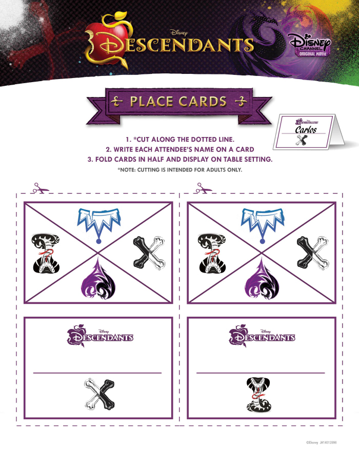 Disney Descendants Party Ideas - Food Crafts and Family - cards party