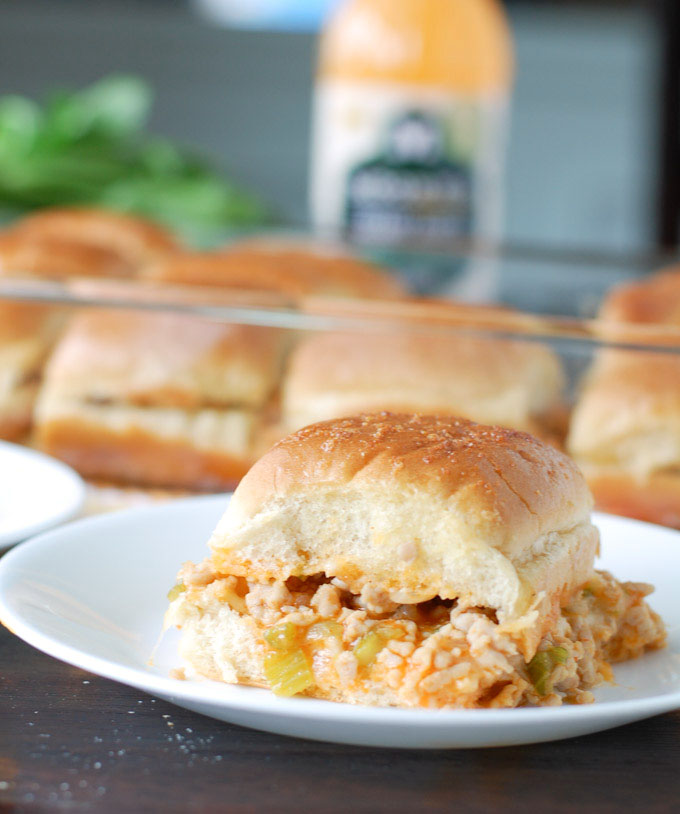Buffalo Ranch Chicken Sliders are made with ground chicken, celery ...