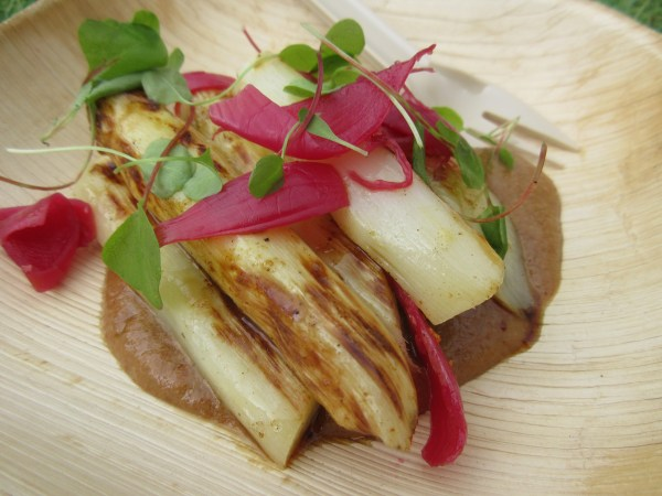 Mirror Room Grilled White Asparagus with Buckwheat praline