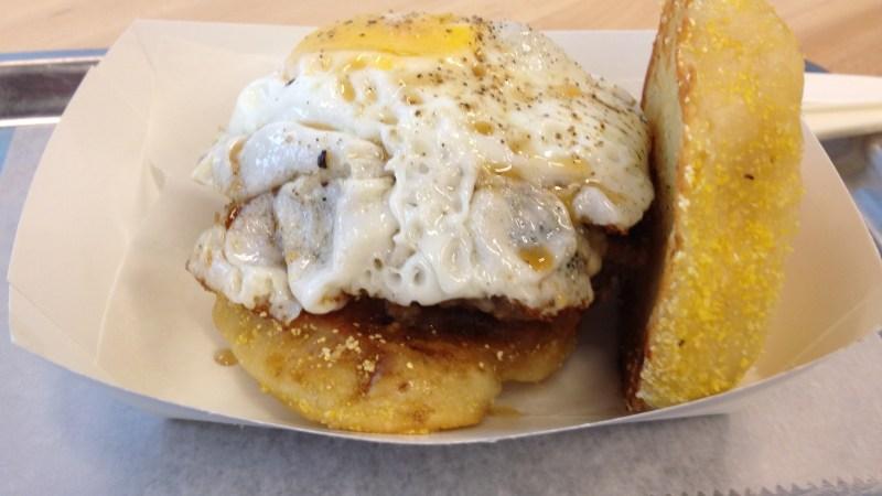 Breakfast burger: veal sausage, egg, cheddar, maple syrup, apple butter.