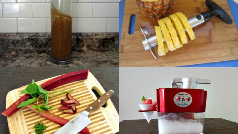 Clockwise from top left: Pasta cooker, pineapple slicer, snow cone maker, celebrity kitchen knife.