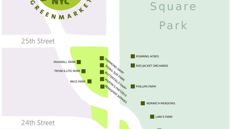A map of the temporarily relocated Union Square Greenmarket.