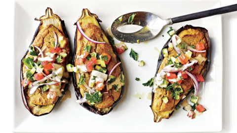 Falafel-Stuffed Eggplant Recipe
