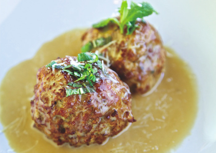 lamb meatballs with foie gras sauce