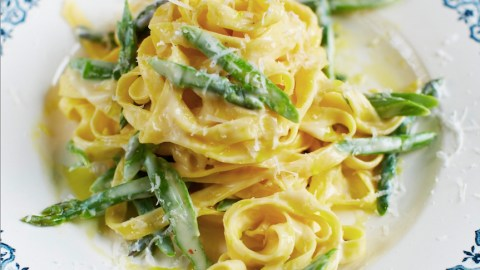 tagliatelle with asparagus and parmesan fonduta