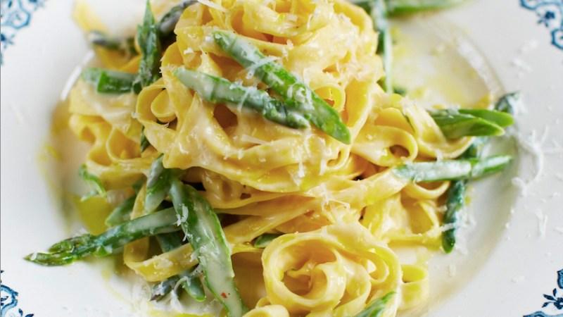 tagliatelle with asparagus and parmesan fonduta