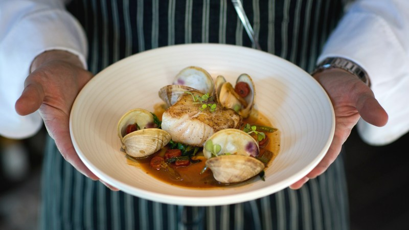 Union's cod is accompanied by tender littleneck clams and salty-sweet Chinese sausage slices.