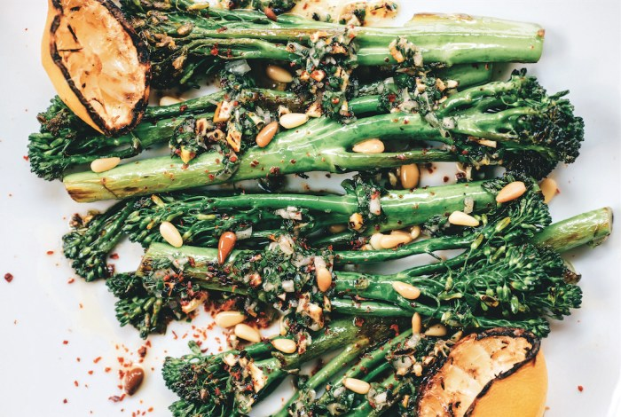 Broccolini With Grilled Lemon, Pine Nuts And Aleppo Chili