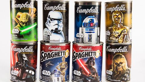 "Check out your local grocery aisle for ""cool,"" ""stellar"" Star Wars-themed Campbell's soups."