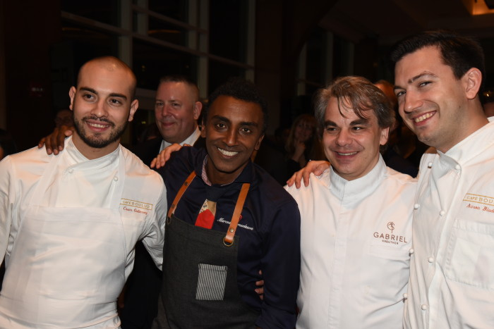 Marcus Samuelsson, Gabriel Kreutzer and chefs from Cafe Boulud.