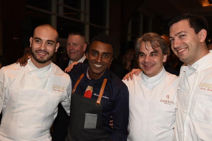 Marcus Samuelsson, Gabriel Kreutzer and chefs from Cafe Boulud.