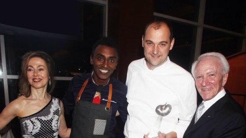 From left to right: C-CAP's President Susan Robbins, Marcus Samuelsson, Daniel Humm, C-CAP's Founder Chairman Emeritus Richard Grausman.