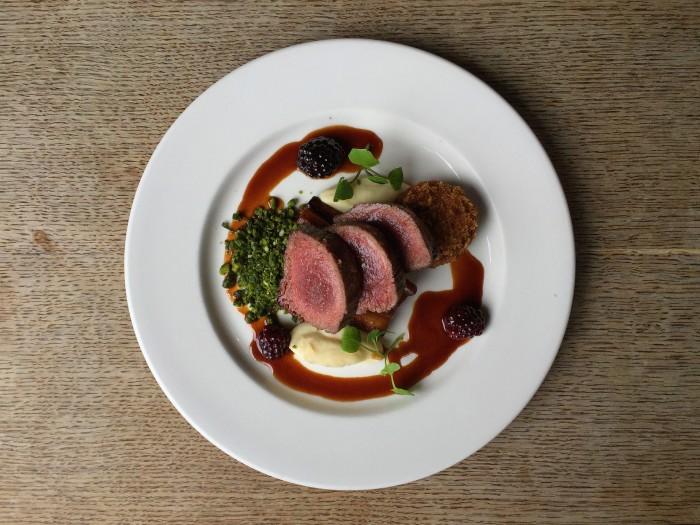 Roast English venison, celeriac puree, game kromeski and a salsify & pistachio crumb