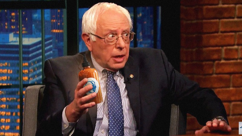 Looks like Bernie is definitely feeling the burn with Tango Hot Sauce. (Photo: Tango Hot Sauce.)