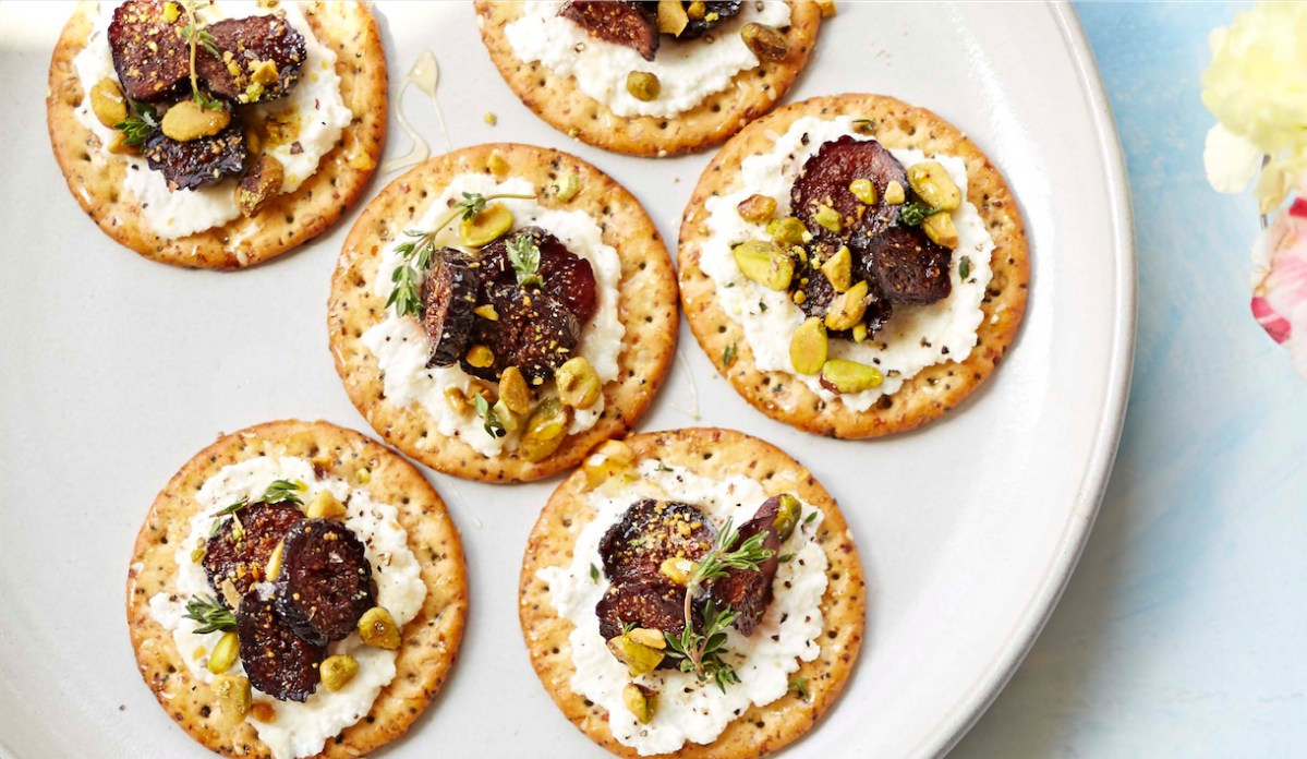Party time make these pickled fig and ricotta canap s for Hot canape ideas