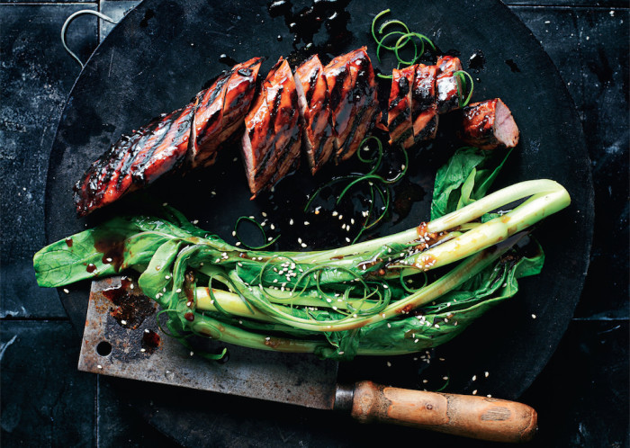 sticky barbecued pork with asian greens recipe