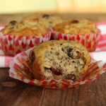 Heart-Healthy Roasted Banana Oat Muffins with Cranberries and Walnuts