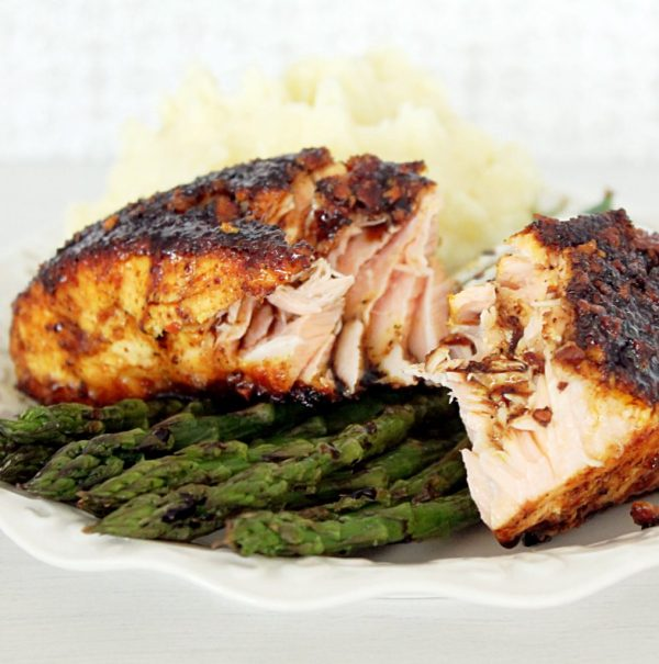 Chili Lime Almond Salmon with Maple Balsamic Glaze by Foodtastic Mom