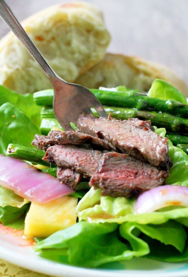 Grilled Steak Salad With Pineapple-Ginger Dressing Recipe — Dishmaps