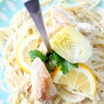 Slow Cooker Creamy Lemon Chicken and Artichoke Pasta