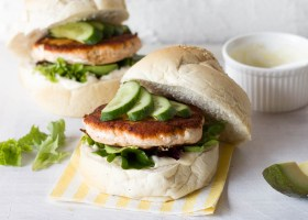 Salmon Burgers with a Caper Yoghurt Dressing