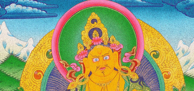 The Yellow Jamnbhalla Wealth God with tibetan mongoose nehulay