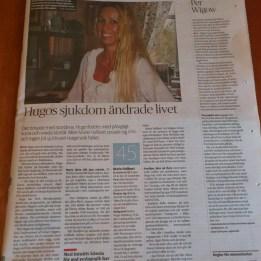 """2011. Marie i DN. Fyller 45år och firar med Hugos morfar """"115år till förmån för FOP"""""""