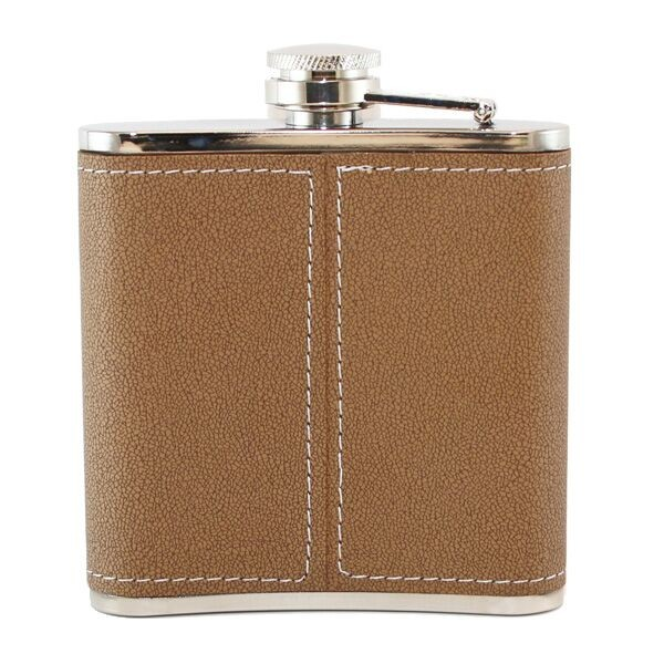 leather monogrammed flask