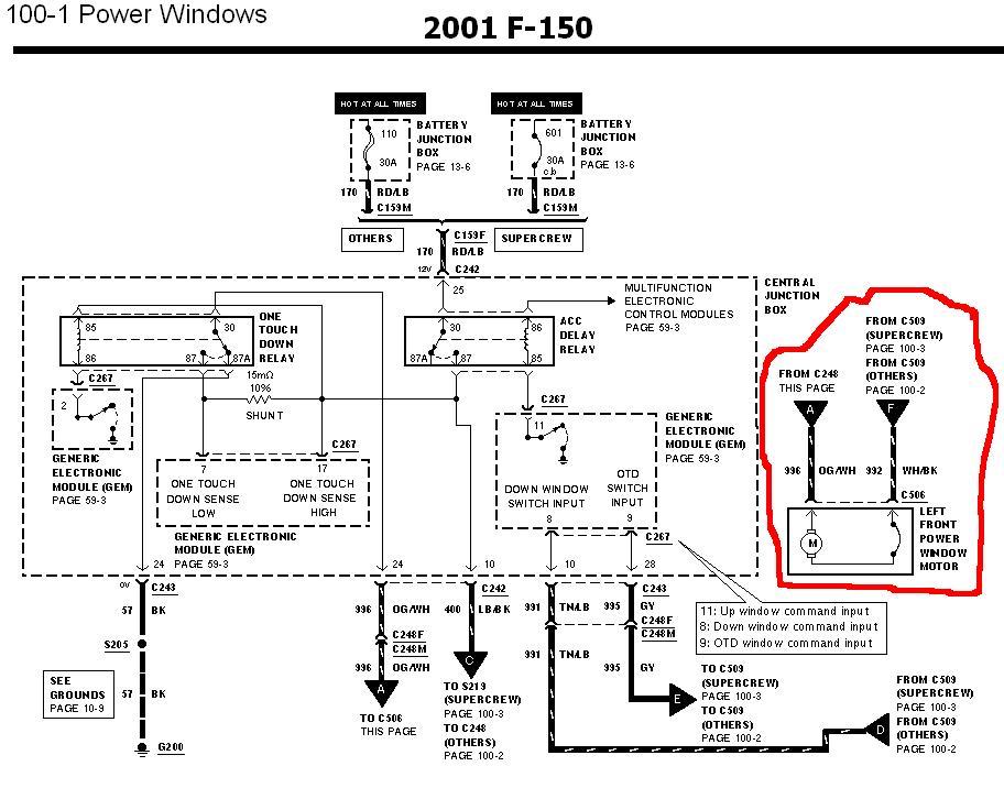 2000 ford taurus power window wiring diagram