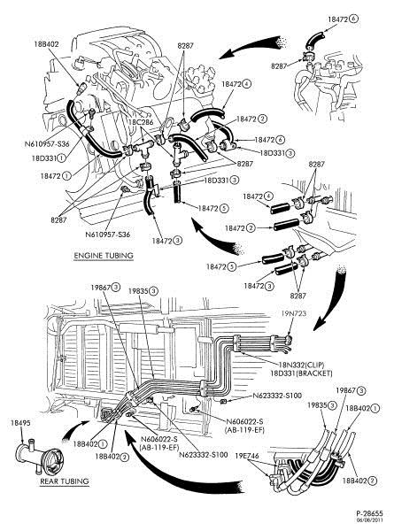 2000 ford taurus heater hose diagram