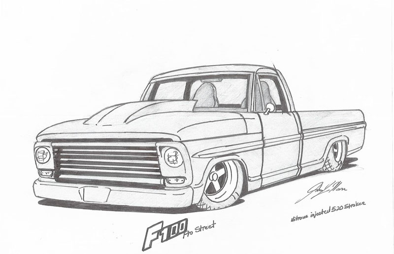vintage truck drawing custom pickup truck drawing by vertualissimo - copy free coloring pages for adults cars