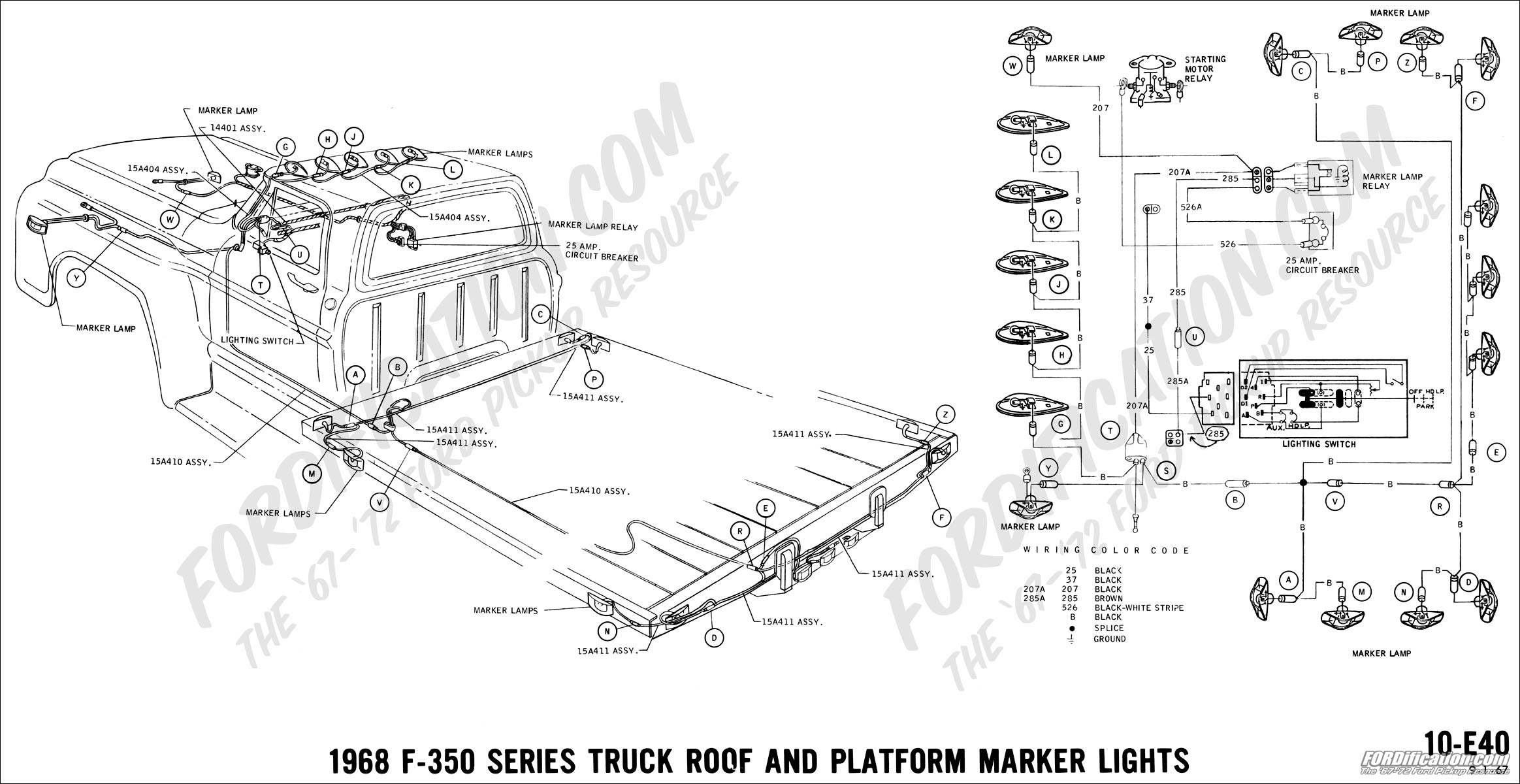 wiring diagram for cab lights