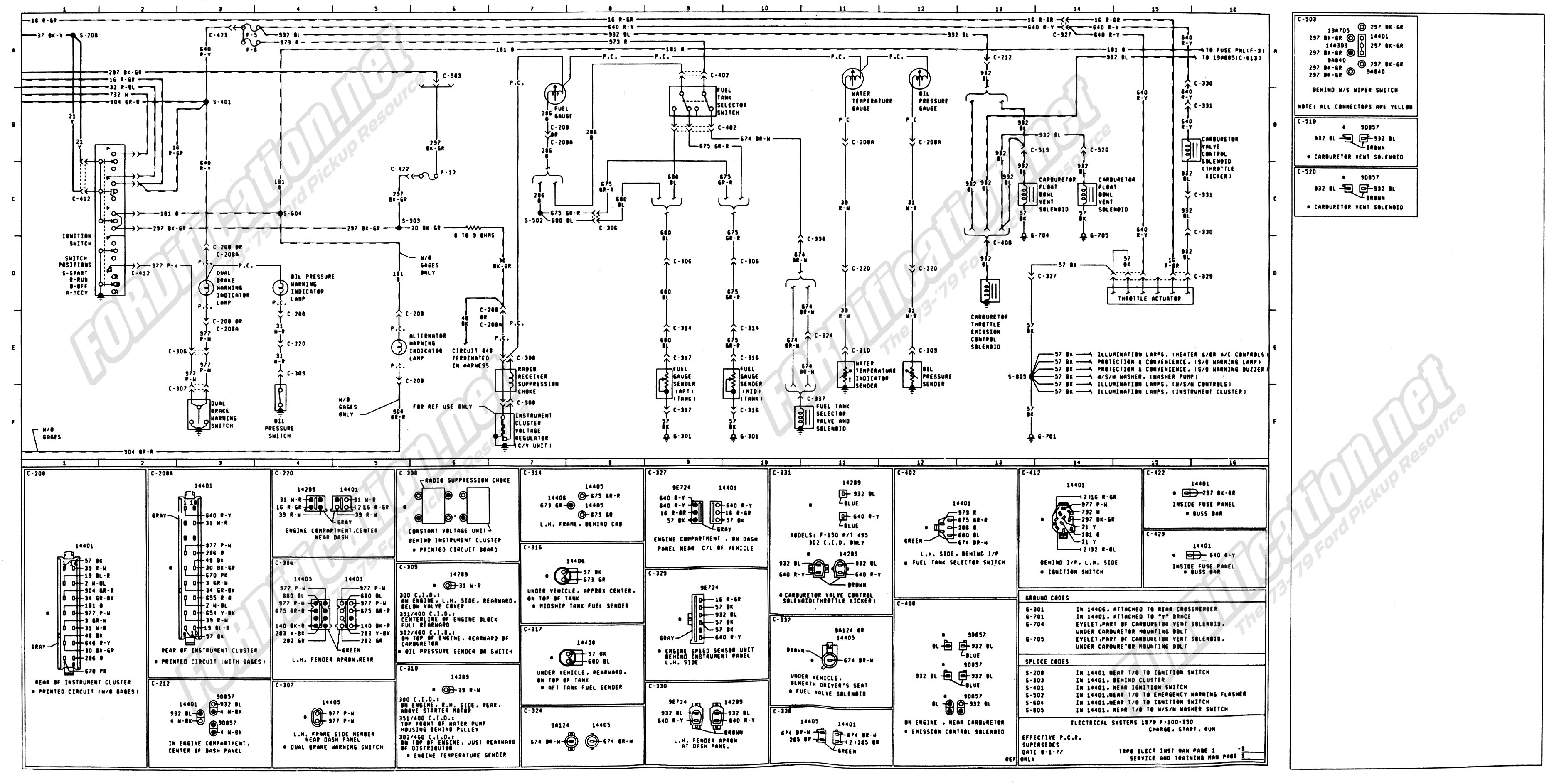 1974 ford f100 to f350 truck wiring diagrams