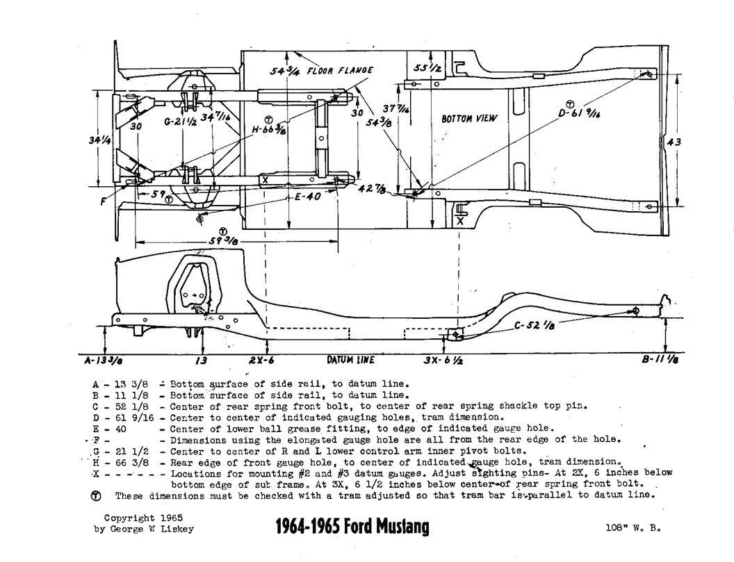 1967 unibody frame dimensions