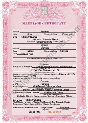 Certified translation of Ukrainian Marriage Certificate