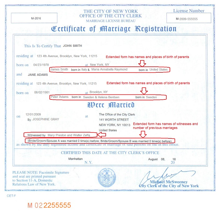 Marriage certificate apostille, New York - marriage certificate