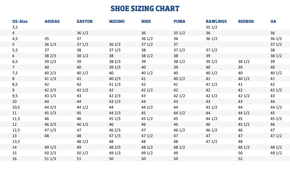 Sizing Charts American Football Equipment, Baseball, Softball