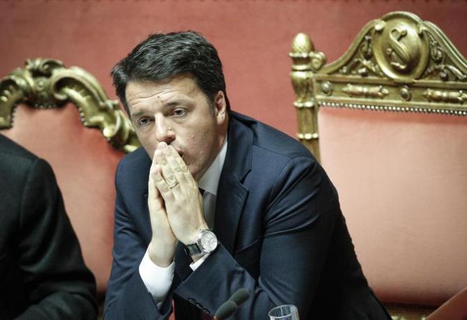 Il Presidente del Consiglio Matteo Renzi in Senato durante la discussione in Aula delle mozioni di sfiducia al Governo, Roma, 19 Aprile 2016. ANSA/ GIUSEPPE LAMI